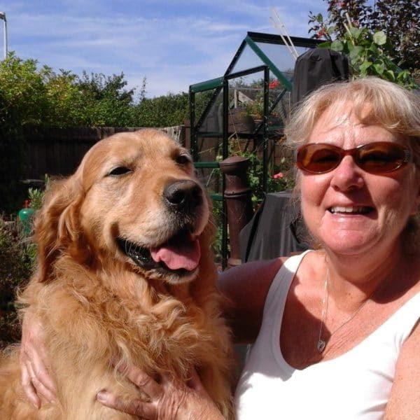 Sue and Golden Retriever, Morgan